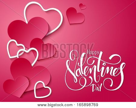 vector illustration of valentines day card with lettering -I love you, doodle branches and a lot of hearts.