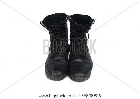 Black combat men boot black Military boots at Through use isolated with soft shadow on white background
