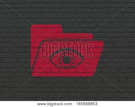 Business concept: Painted red Folder With Eye icon on Black Brick wall background
