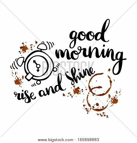 Good morning. Rise and shine. Coffee cup. Alarm clock. Isolated vector analyzing processes on white background.