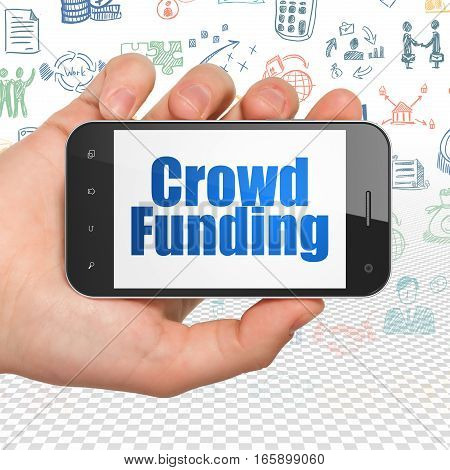 Business concept: Hand Holding Smartphone with  blue text Crowd Funding on display,  Hand Drawn Business Icons background, 3D rendering