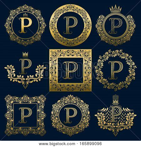 Vintage monograms set of P letter. Golden heraldic logos in wreaths round and square frames.