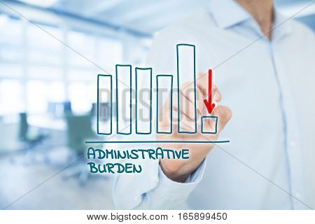 Administrative burden reduction concept. Businessman draw graph with administrative burden reduction, office in background.