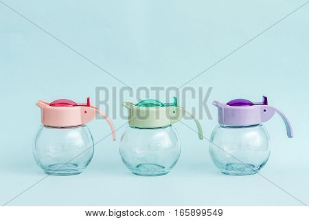 Glass Round Jars With Colorful Handles