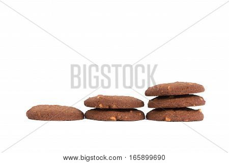 Chocolate Cashew Nut Butter Cookies Stack Isolated On White Background.