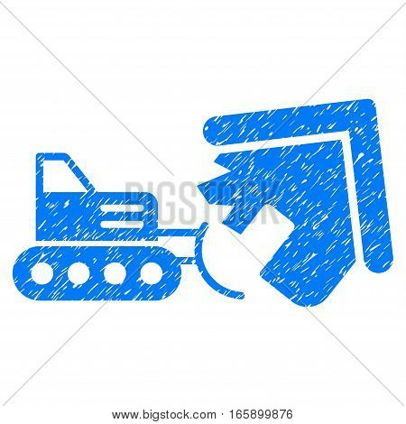 Demolition grainy textured icon for overlay watermark stamps. Flat symbol with dust texture. Dotted vector blue ink rubber seal stamp with grunge design on a white background.