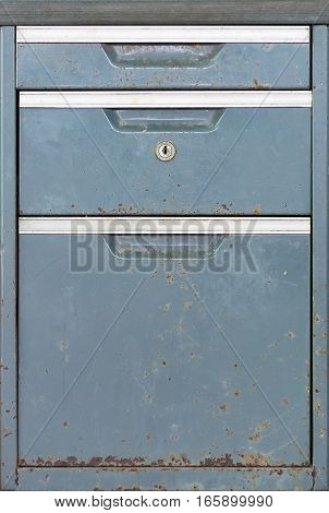 Old Grunge Dirty File Drawer With Dusty, Isolated On White.