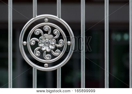 Flower stainless pattern on fence stainless. abstract architecture background