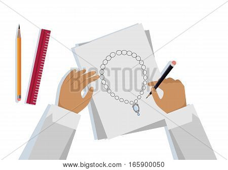 Jewelry design banner. Jeweler designs on paper expensive jewelry necklace. Drawing on paper. Craft jewelry making. A handmade jeweler process, manufacture of jewelery. Vector illustration in flat.