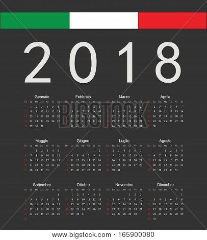 Square Black Italian 2018 Year Vector Calendar