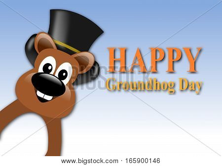 Happy Groundhog Day Design With Cute Groundhog With Hat