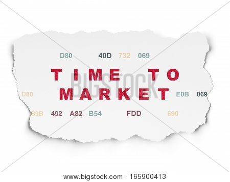 Timeline concept: Painted red text Time to Market on Torn Paper background with  Hexadecimal Code