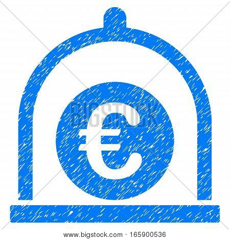 Euro Standard grainy textured icon for overlay watermark stamps. Flat symbol with scratched texture. Dotted vector blue ink rubber seal stamp with grunge design on a white background.