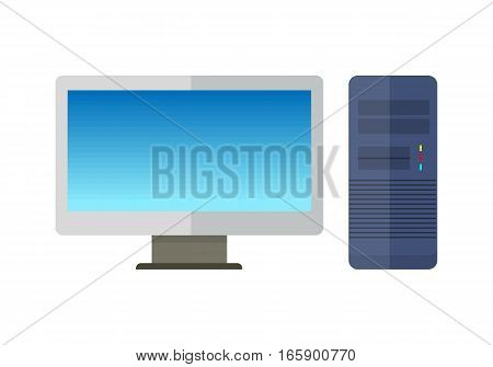 Blue computer system unit and computer monitor with empty screen in flat. Desktop computer. Computer icon. Isolated object on white background. Vector illustration.