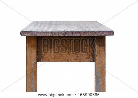Empty Top Of Wooden Table Isolated On White Background.