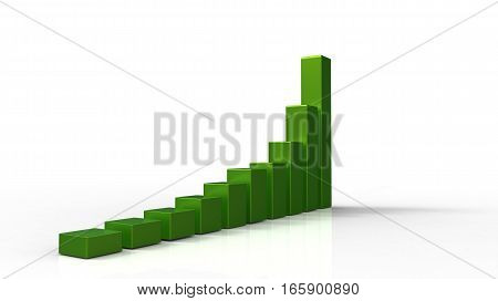 3D green chart with shadow on white background
