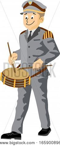 2d Illustration of an young fanfare drummer