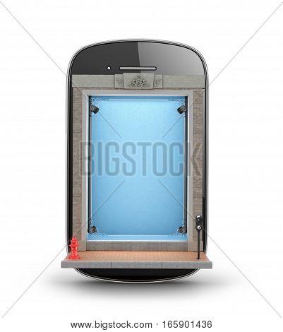 Store Showcase. shop window built into the smartphone. 3D illustration.