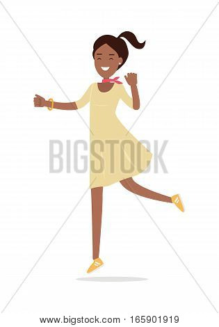 Happy woman promenade. Beautiful happy chestnut lady in nice yellow dress and sneakers walking flat vector illustration isolated on white background. For shopping and fashion concepts, advertising