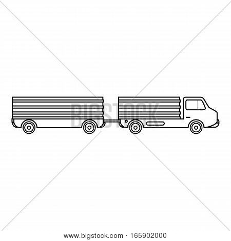 Trailer icon. Outline illustration of trailer vector icon for web