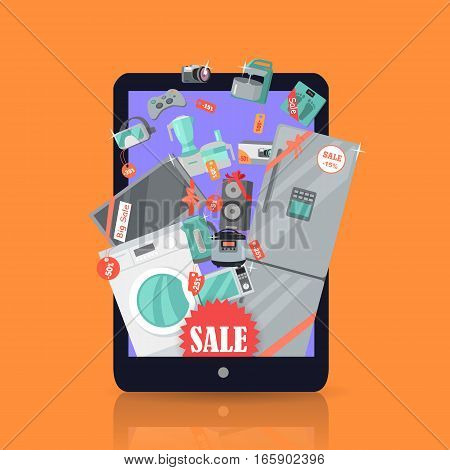 Online sale. Supermarket Sale. Household appliances flat style in suitcase. For electronics stores advertising. Purchase of equipment in Internet. Devices with red discount tags. Black friday. Vector