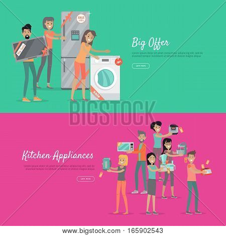 Big offer and kitchen appliances. Set of people on store sale. Flat design vector. Man and woman happy characters holding different goods with sale stickers. Home technic, electronic devices, household shopping