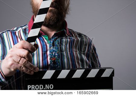 Man With Clapperboard Cinema