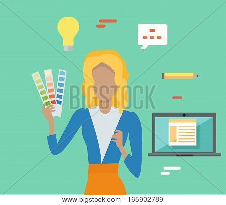 Woman with colorful panel and editable elements for design. SEO concept in flat style. People with computers and mobile devices working for content search engine optimization and creating sites