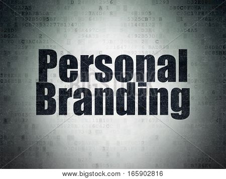 Advertising concept: Painted black word Personal Branding on Digital Data Paper background