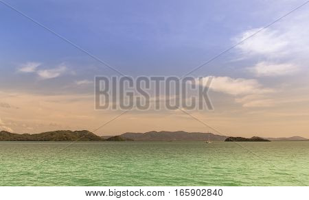 colorful of ocean and mountain and sky, Andaman ocean of Thailand