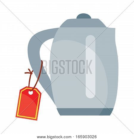 Teapot or electric kettle with red sale tag isolated. Discount at household appliances. Electronic device. Shiny kettle tea kettle for boiling water icon sign. Vector illustration in flat style design