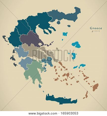 Modern Map - Greece With Regions Gr Illustration