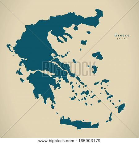 Modern Map - Greece Country Silhouette Gr Illustration