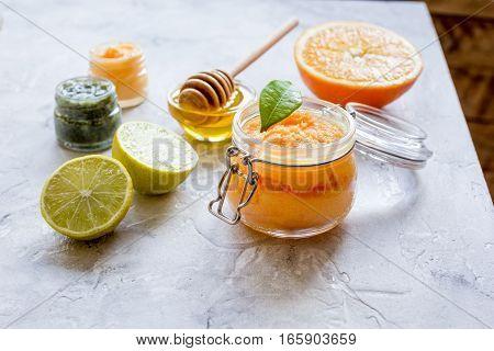 organic citrus scrub homemade on gray background close up