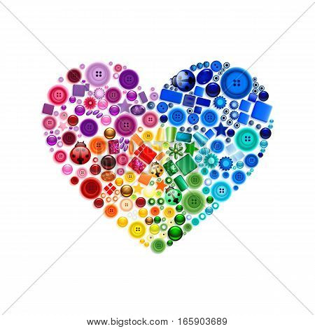 Stock vector illustration isolated heart decor multicolored buttons, beads, gems, pearl, jewel pattern on white background for greetings card, printed materials, design element, Happy Valentines Day