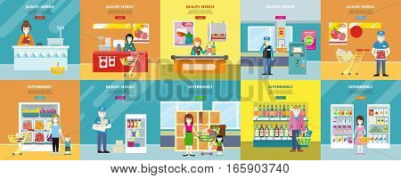 Set of quality service and supermarket web banners. Flat style. Customers service in supermarket, consumer choice and merchandising strategy, store personnel illustrations for shop web page design.
