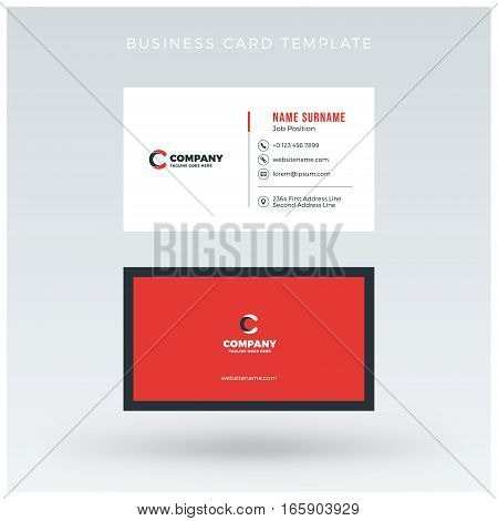 Double-sided Red Business Card Template. Vector Illustration. Stationery Design