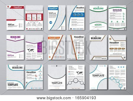 Big set of white flyers with different geometric elements. Templates two pages brochure A4 with space for photos and information. Vector illustration