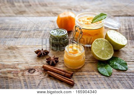 organic citrus scrub homemade on wooden background close up