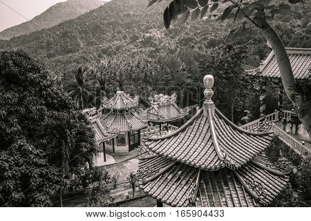 View down over a Buddhist temple, Koh Phangan, Thailand
