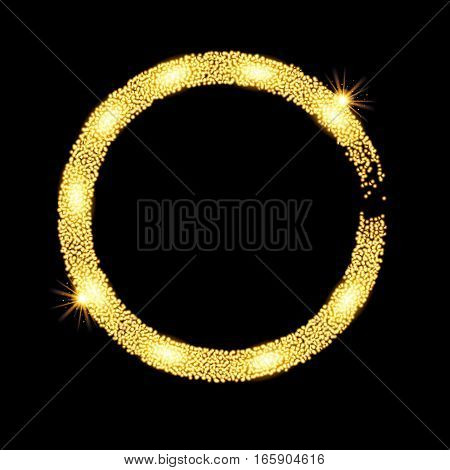 Gold glitter circle banner with stars. Vector illustration