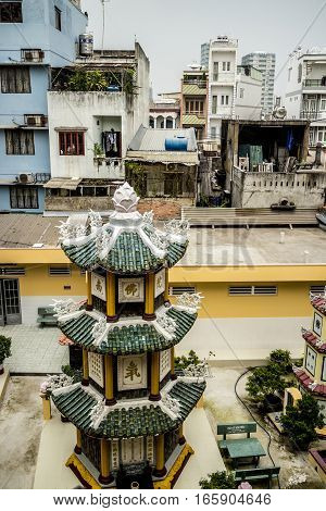 View over a street from a Buddhist temple, Ho Chi Minh City, Vietnam