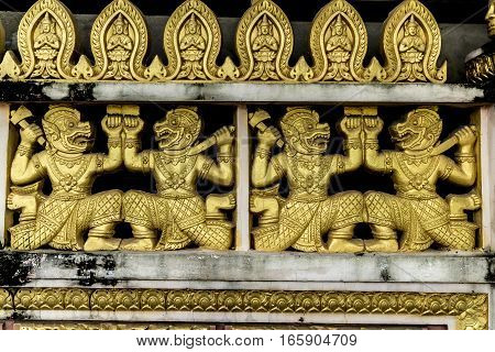 Golden decoration in a Buddhist temple in Ho Chi Minh City, Vietnam