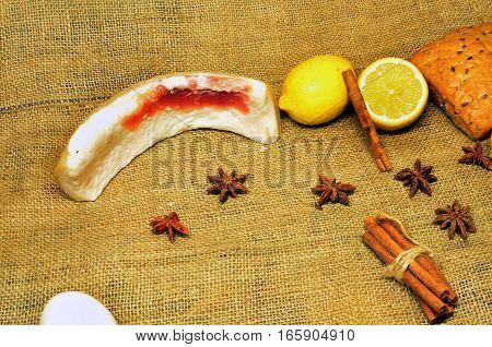 hot tea with lemon, cinnamon and thyme