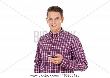 Picture of a handsome young guy suffering of cellphone addiction