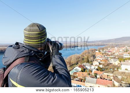 Picture of a male photographer making memories in Esztergom Hungary