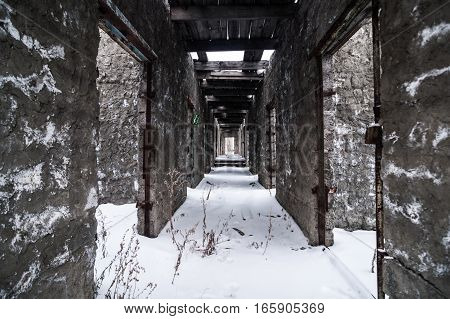 Interior of old abandoned prison in Kolyma. Place for walking