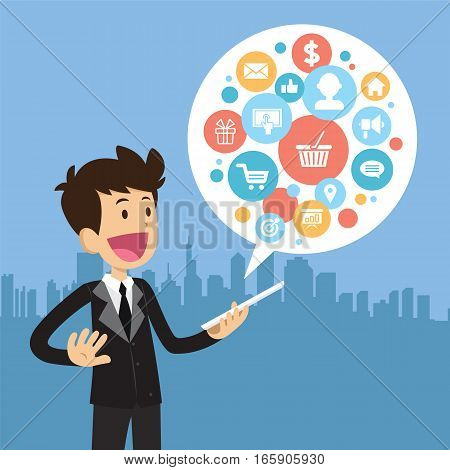 Businessman with tablet. Vector flat cartoon illustration