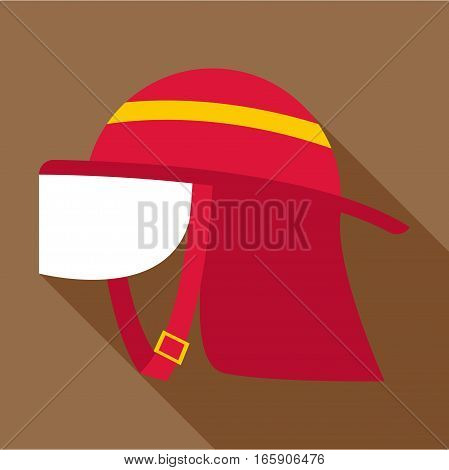 Firefighter helmet icon. Flat illustration of firefighter helmet vector icon for web