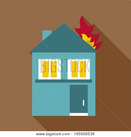 Burning house icon. Flat illustration of burning house vector icon for web